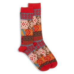 Anonymous Ism Fairisle Sock - Red - Burrows and Hare