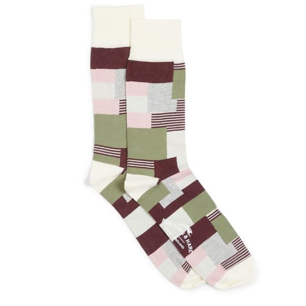Burrows and Hare Patchwork Socks - Cream - Burrows and Hare