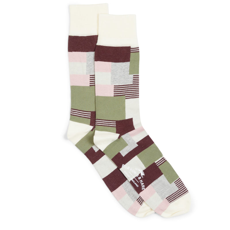 Burrows & Hare Patchwork Socks - Cream - Burrows and Hare