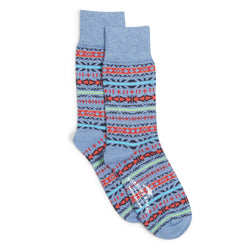 Burrows and Hare Fairisle Socks - Blue - Burrows and Hare