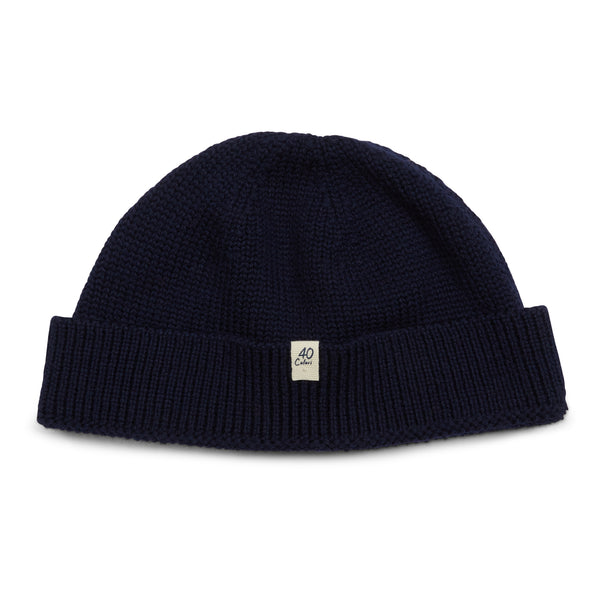 40 Colori Woollen Fisherman Beanie Hat - Navy - Burrows and Hare