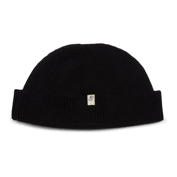 40 Colori Woollen Fisherman Beanie Hat - Black - Burrows and Hare