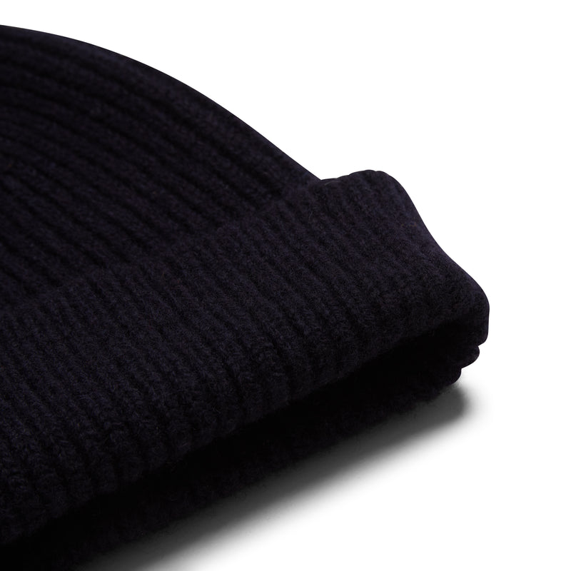 Burrows & Hare Wool Beanie Hat - Navy - Burrows and Hare