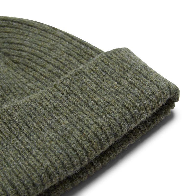 Burrows & Hare Wool Beanie Hat - Moss - Burrows and Hare