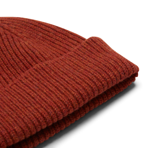 Burrows and Hare Wool Beanie Hat - Rust - Burrows and Hare