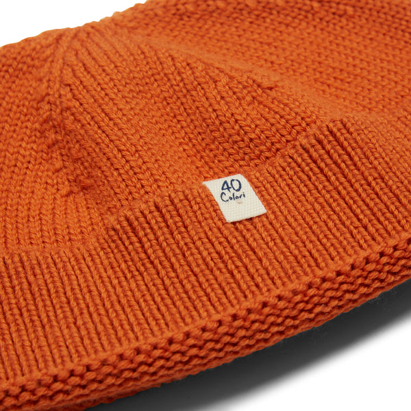 40 Colori Woollen Fisherman Beanie Hat - Orange - Burrows and Hare