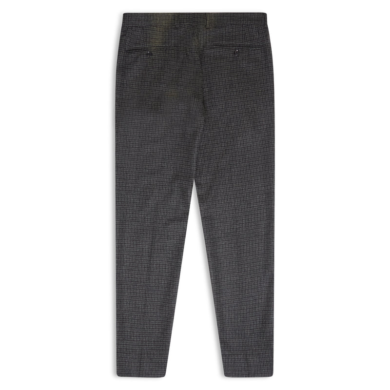 Burrows & Hare Fox Brothers Flannel Check Trousers - Grey - Burrows and Hare