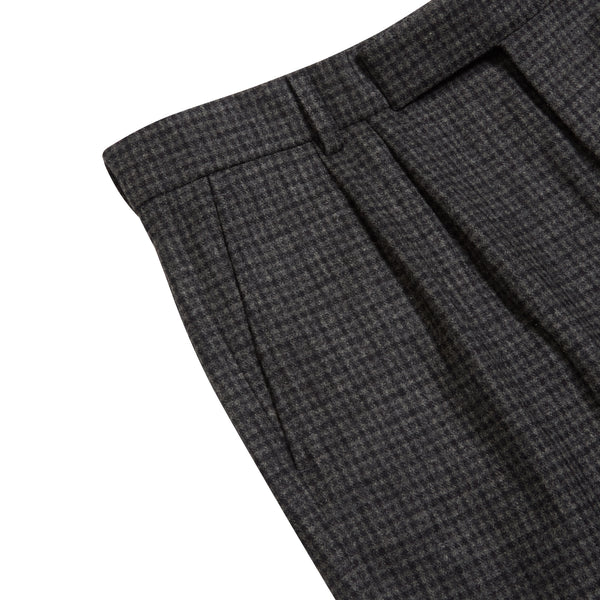 Burrows and Hare - Fox Brothers Flannel Check Trousers - Grey - Burrows and Hare