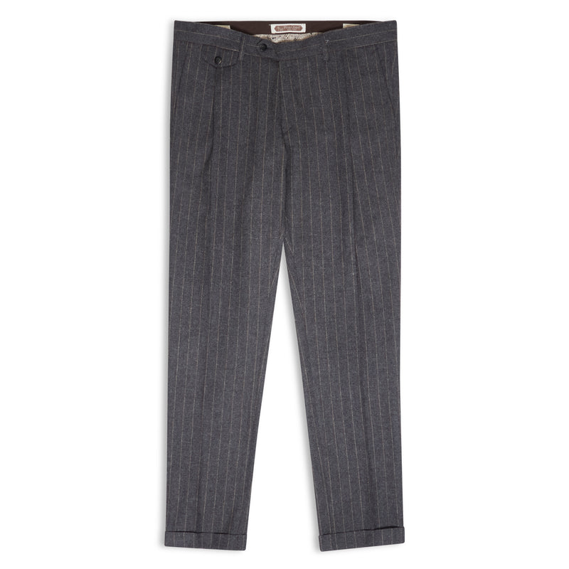 Burrows & Hare Pinstripe Trousers - Grey - Burrows and Hare