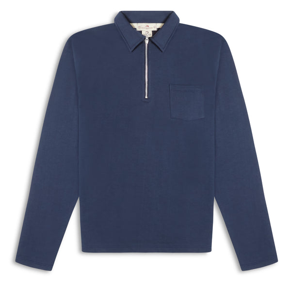 Burrows and Hare Quarter Zip Long Sleeve Polo - Navy - Burrows and Hare