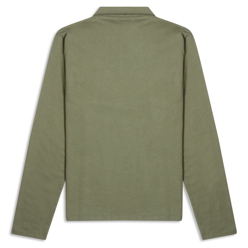 Burrows and Hare Quarter Zip Long Sleeve Polo - Khaki Green - Burrows and Hare