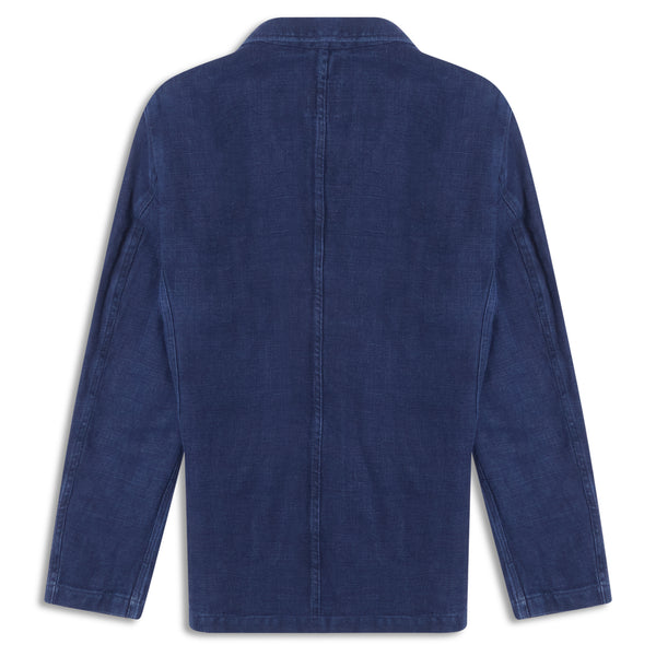 Burrows and Hare Linen Herringbone Blazer - Navy - Burrows and Hare