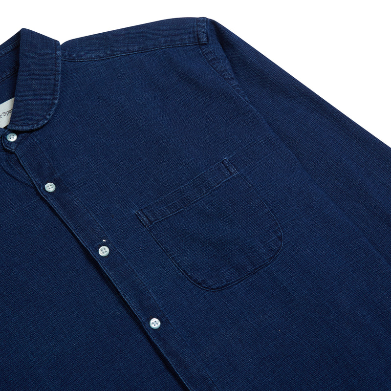 Oliver Spencer Eton Collar Shirt Kildale - Indigo Rinse - Burrows and Hare