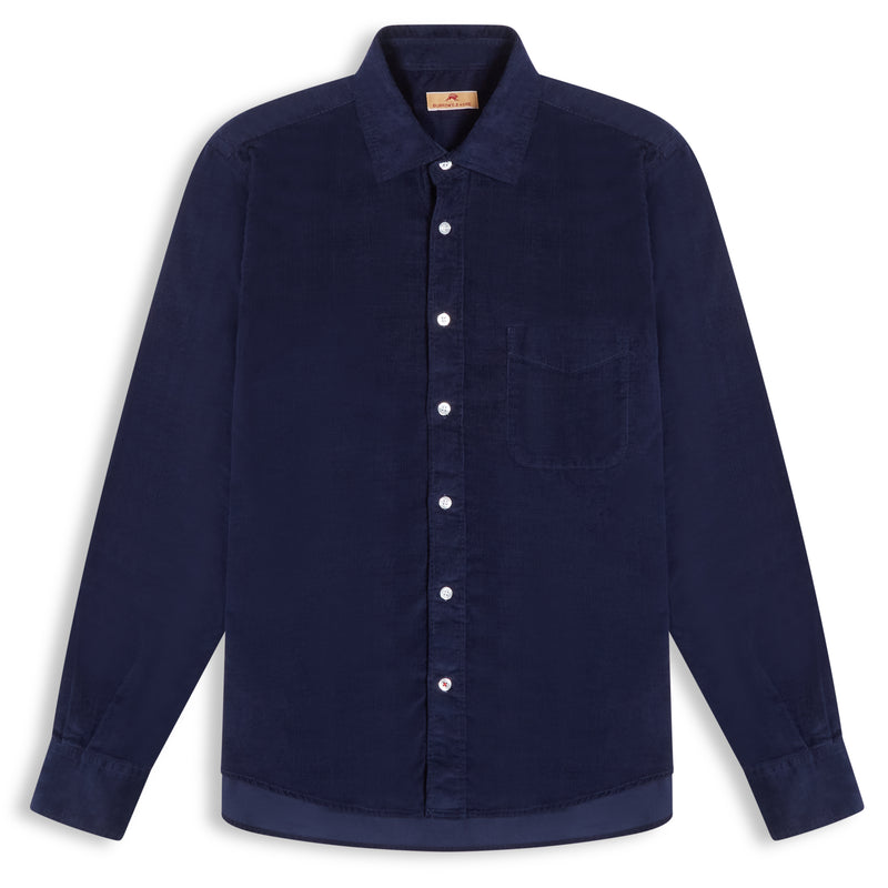 Burrows and Hare Cord Shirt - Navy - Burrows and Hare