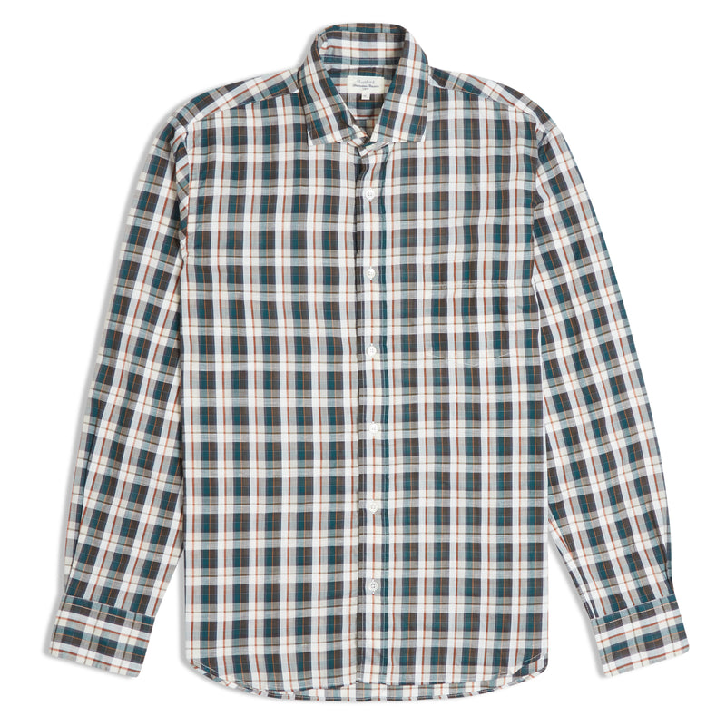 Hartford Paul Forest Check Linen Shirt - Green - Burrows and Hare