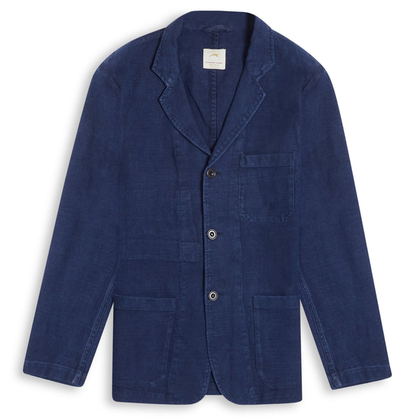 Burrows and Hare Linen Crosshatch Blazer - Navy - Burrows and Hare