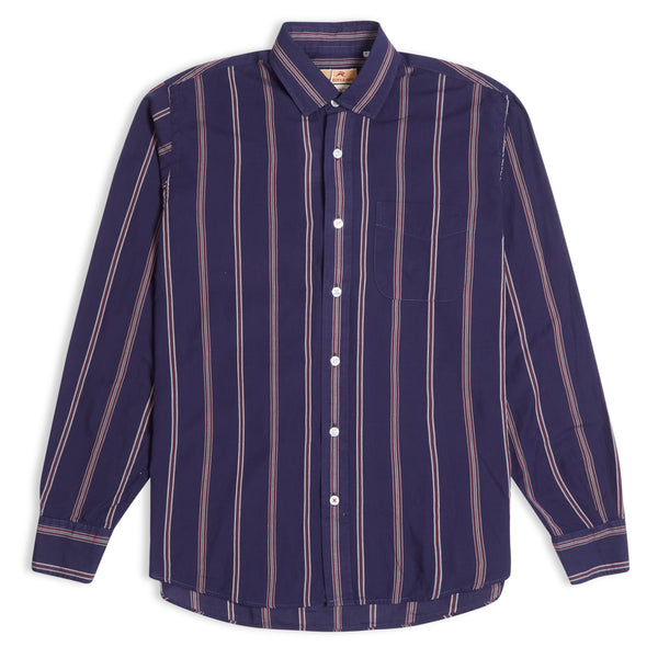 Burrows & Hare Stripe Shirt - Navy - Burrows and Hare