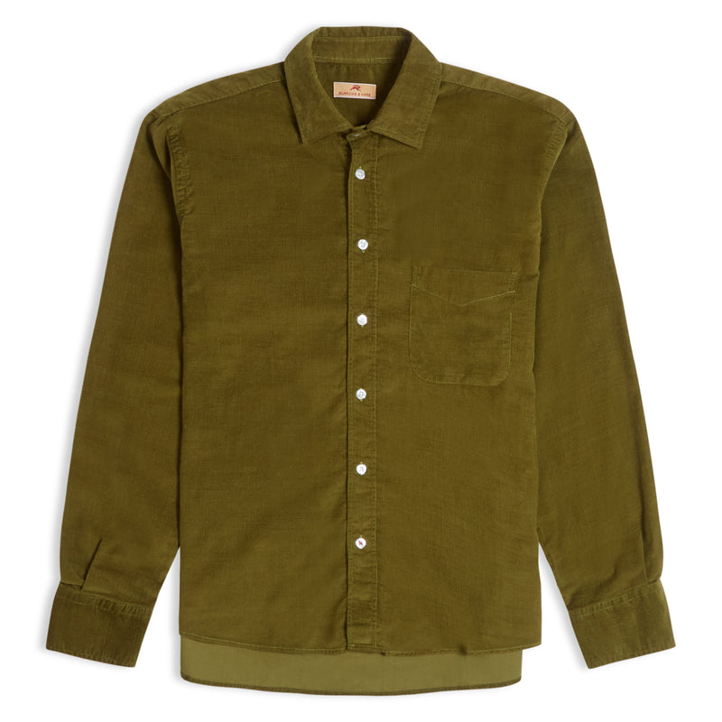 Burrows and Hare Cord Shirt - Olive Green - Burrows and Hare