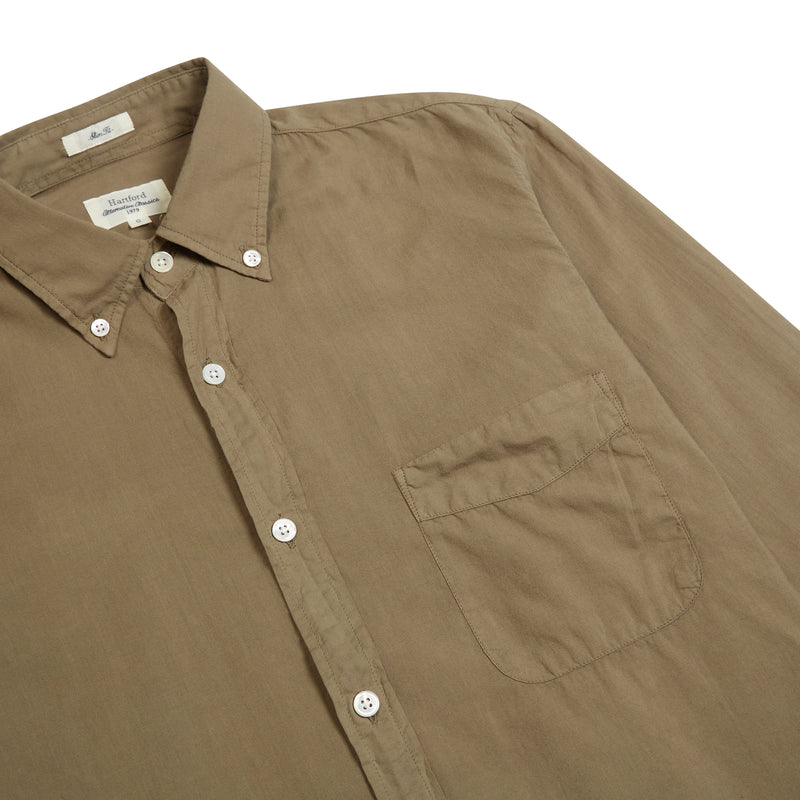 Hartford Side Pat Col 67 Shirt - Khaki Green - Burrows and Hare