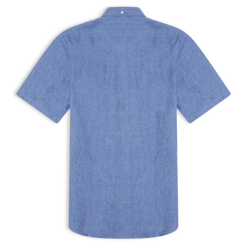 Hartford Side MC Col 07 Short Sleeve Shirt - Blue - Burrows and Hare