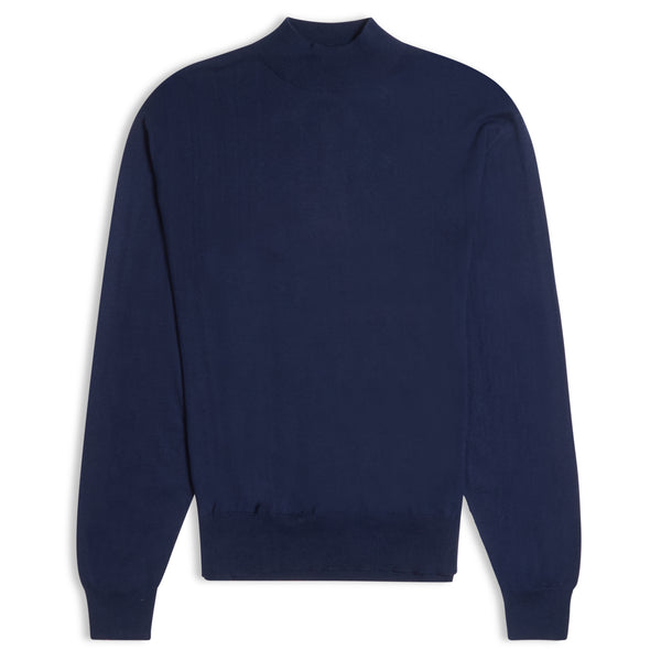 Burrows and Hare Mock Turtle Neck - Navy - Burrows and Hare