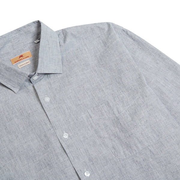 Burrows & Hare Luke Shirt Cotton & Linen Mix - Grey - Burrows and Hare
