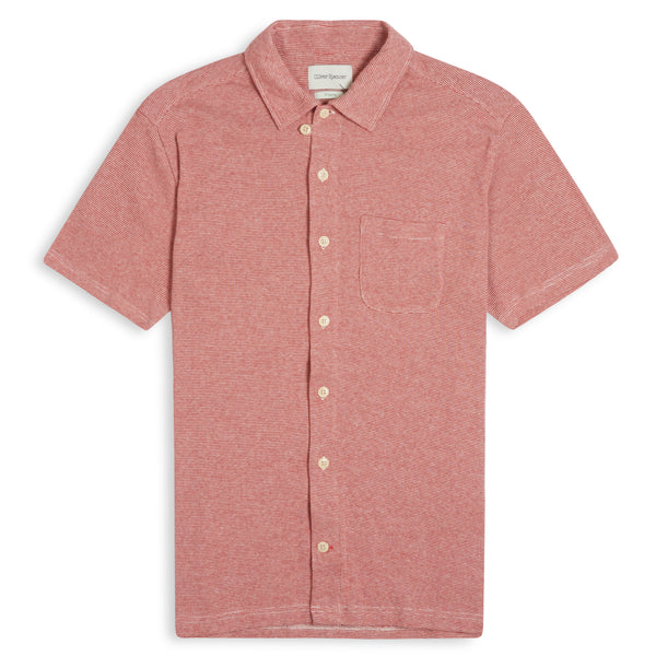 Oliver Spencer Hawaiian Jersey Short Sleeve Shirt Yale - Red - Burrows and Hare