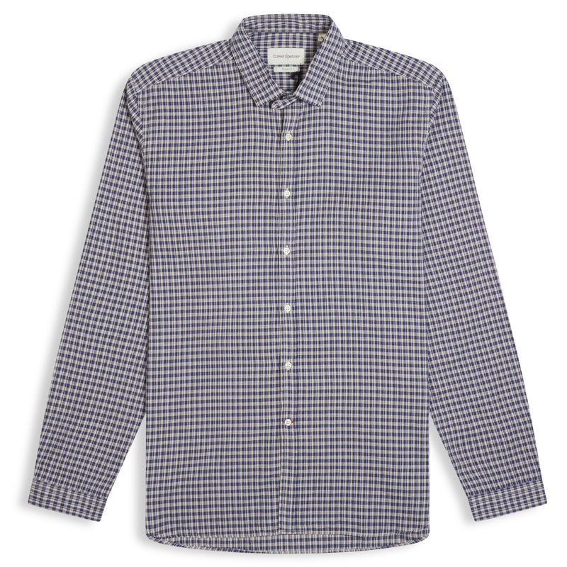 Oliver Spencer Clerkenwell Tab Shirt Thorndon - Blue - Burrows and Hare