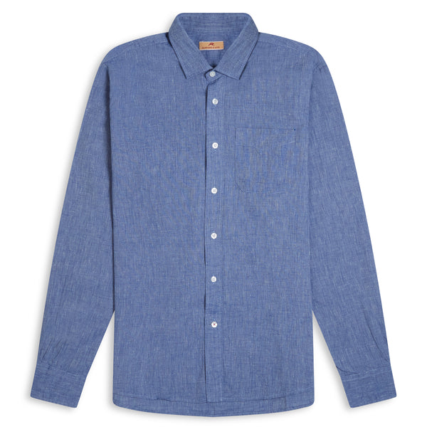 Burrows & Hare Luke Shirt Cotton & Linen Mix - Blue - Burrows and Hare