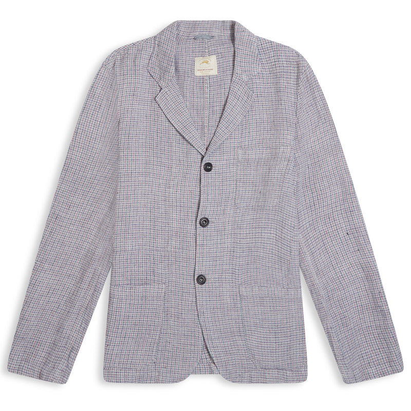 Burrows & Hare Houndstooth Linen Blazer - Pink/Grey - Burrows and Hare