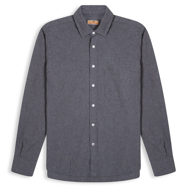 Burrows and Hare Micro-Check Flannel Shirt - Dark Grey - Burrows and Hare