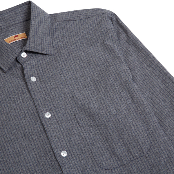 Burrows and Hare Micro-Check Shirt - Dark Grey - Burrows and Hare