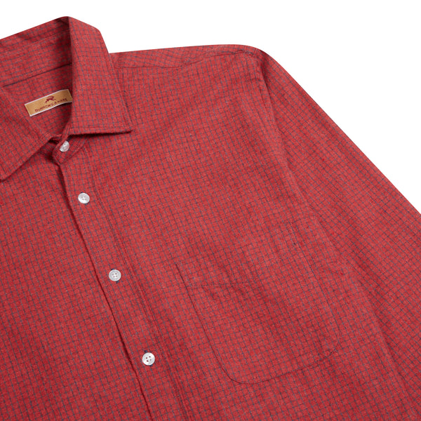 Burrows and Hare Micro-Check Flannel Shirt - Red - Burrows and Hare
