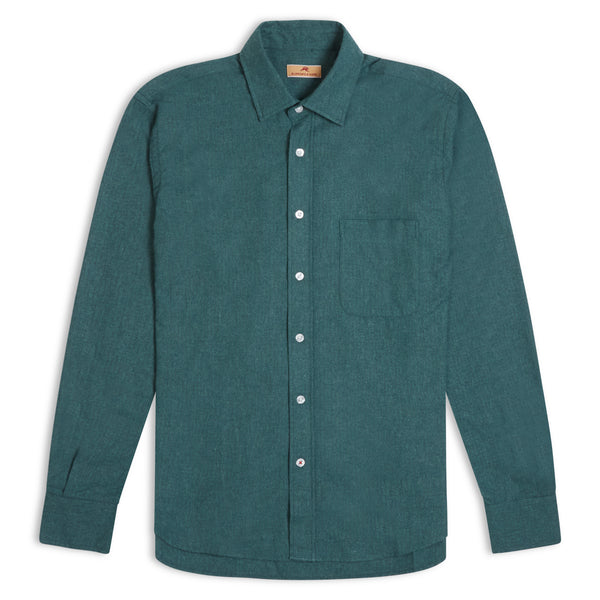 Burrows & Hare Faded Micro Check Flannel Shirt - Green - Burrows and Hare