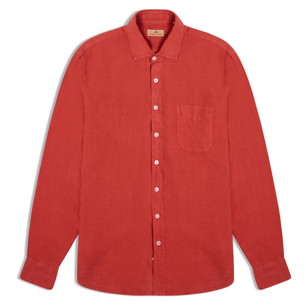 Burrows and Hare Linen Shirt - Rust - Burrows and Hare