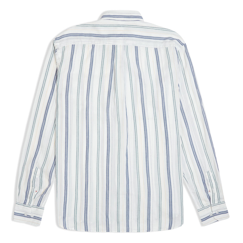Burrows & Hare Japanese Cotton Multi Stripe Shirt - White - Burrows and Hare
