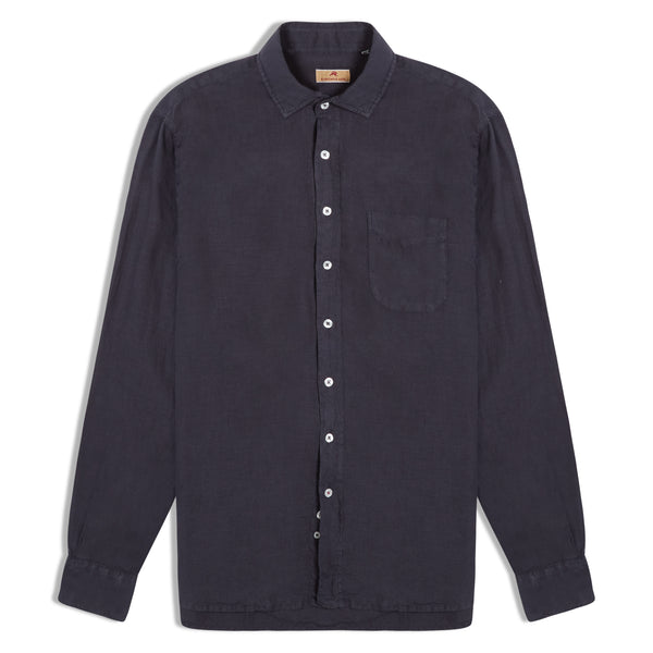Burrows and Hare Linen Shirt - Charcoal - Burrows and Hare
