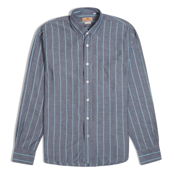 Burrows & Hare Japanese Cotton Striped Shirt - Grey - Burrows and Hare