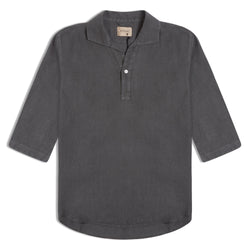 Unfeigned Polera Linen Shirt - Dark Shadow - Burrows and Hare
