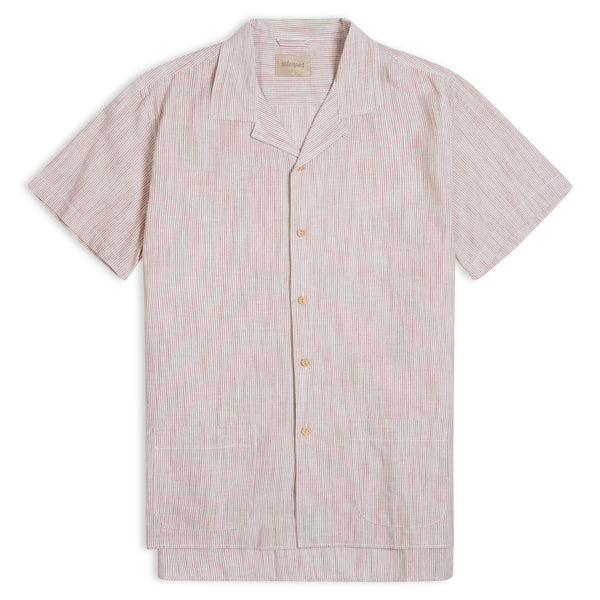 Unfeigned Short Sleeve Stripe Shirt - Rust - Burrows and Hare