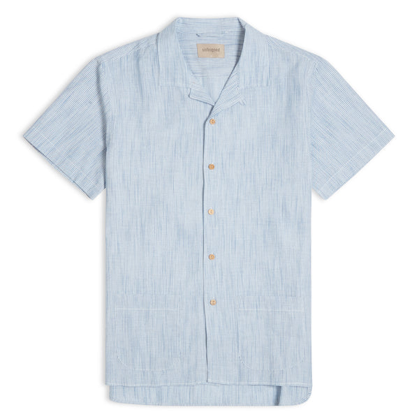 Unfeigned Short Sleeve Stripe Shirt - Blue