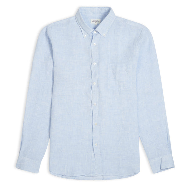 Hartford Paul Linen Col 09 Shirt - Blue - Burrows and Hare