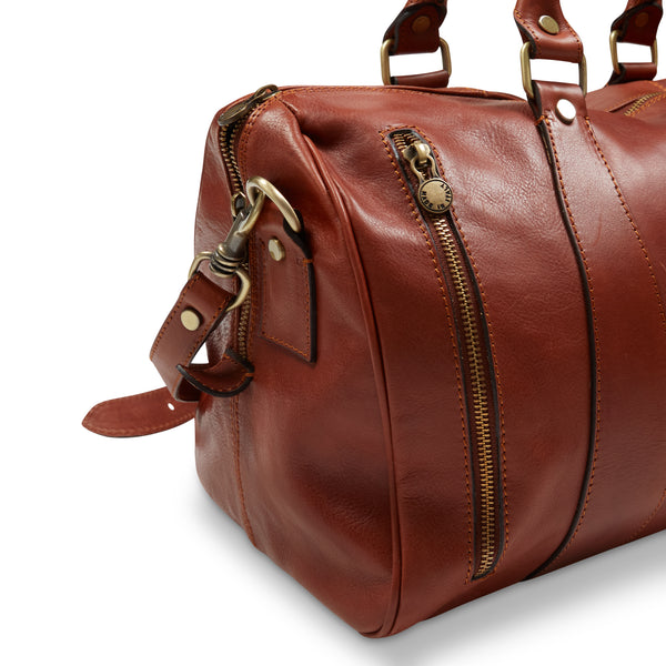 Burrows & Hare 'Arthur' Leather Overnight Bag - Mahogany - Burrows and Hare