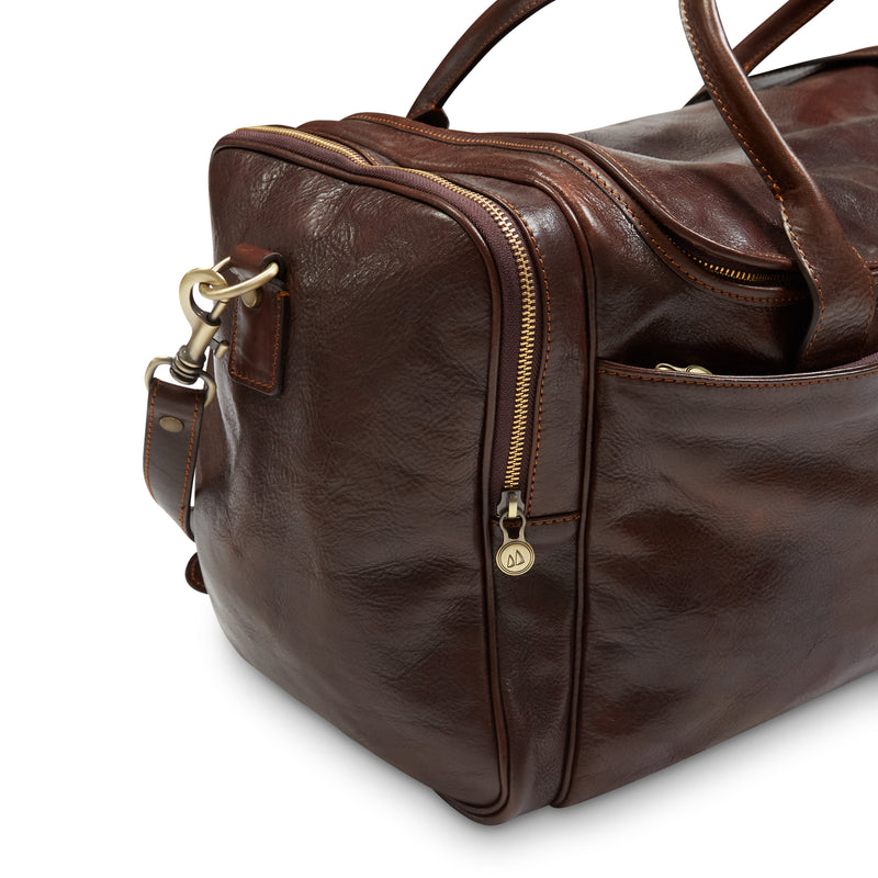 Burrows & Hare Italian Leather Weekend Bag - Dark Tan - Burrows and Hare