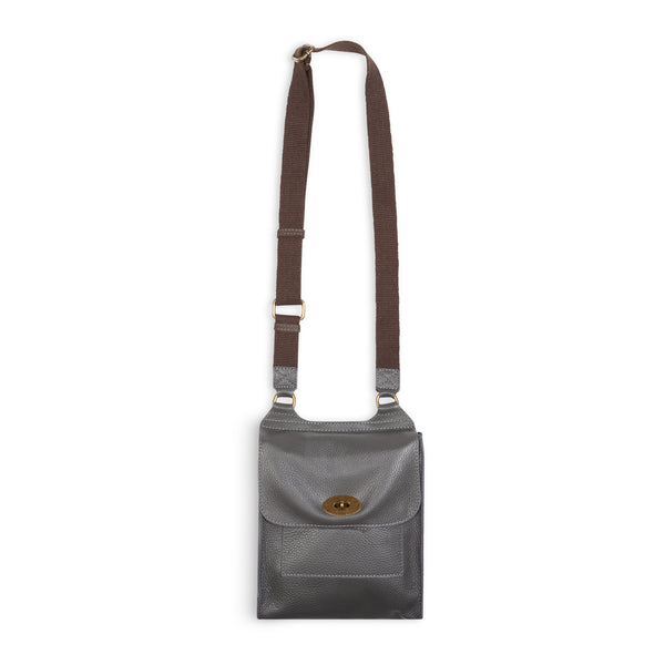 Burrows and Hare Leather Side Bag - Grey - Burrows and Hare