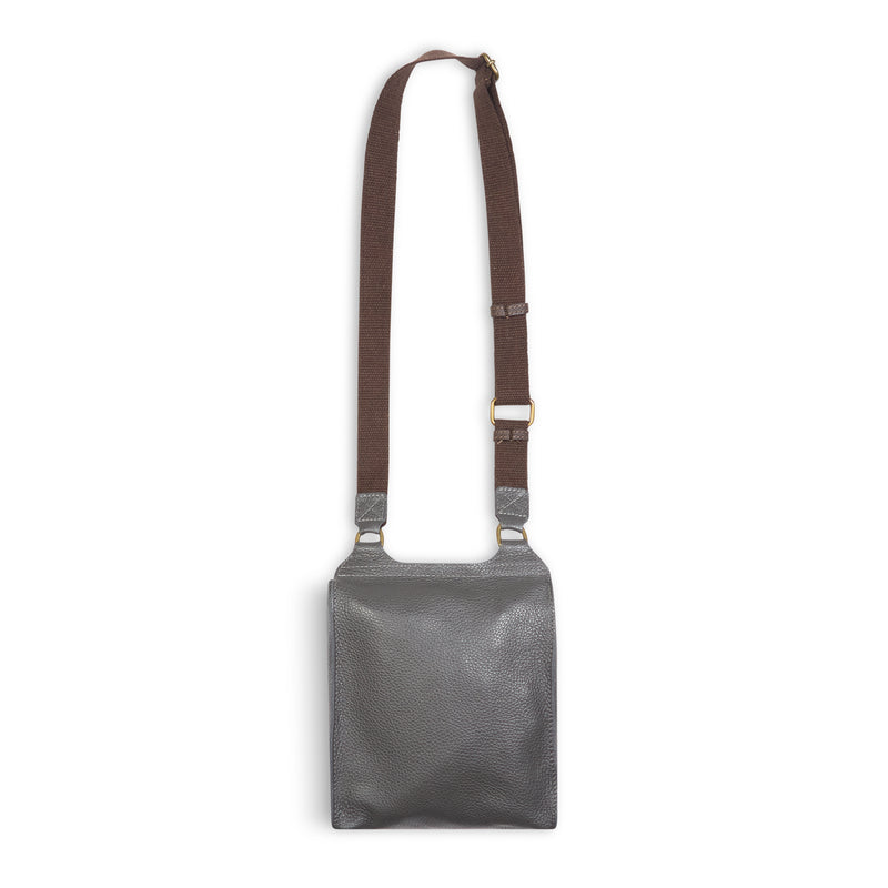 Burrows & Hare Across Body Leather Bag - Grey - Burrows and Hare