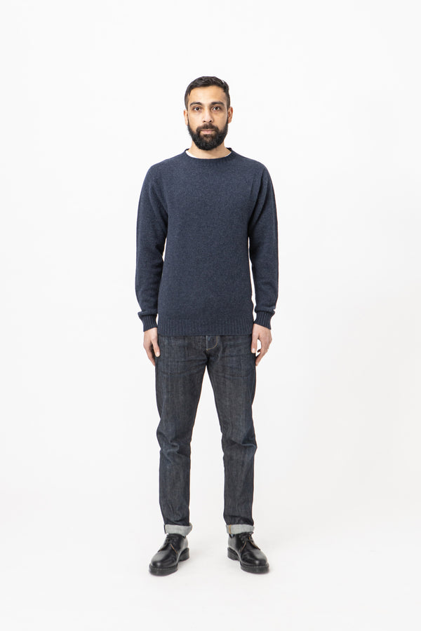 Burrows & Hare Alpaca Crew Neck Jumper - Navy - Burrows and Hare