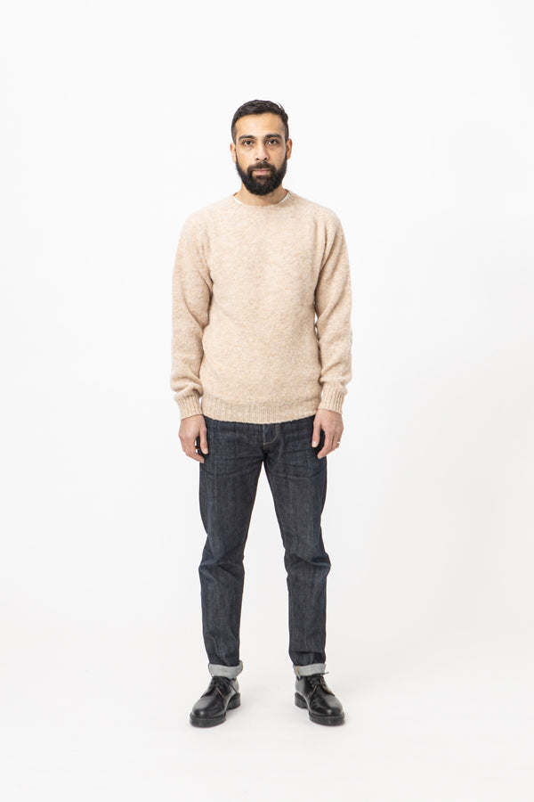 Burrows & Hare Brushed Shetland Crew Neck Jumper - Tusk - Burrows and Hare