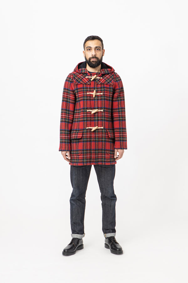 Burrows & Hare Water Repellent Wool Duffle Coat - Red Tartan - Burrows and Hare