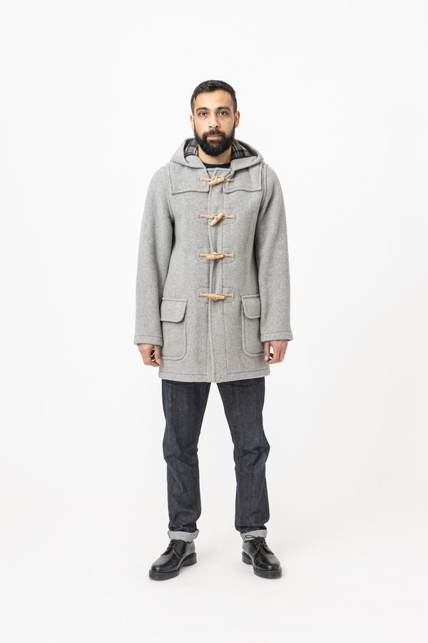 Burrows & Hare Water Repellent Wool Duffle Coat - Light Grey - Burrows and Hare